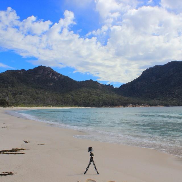 Capturing my Gopro time lapse at Wineglass Bay #tasmania #wineglassbay